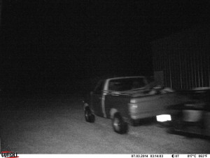 Truck and trailer allegedly used in the theft and break-in.