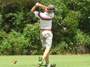 John Parriger hits a drive on Thursday
