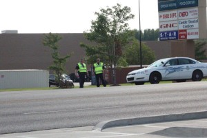 Tullahoma Police block the entrance to Walmart... Photo by Barry West