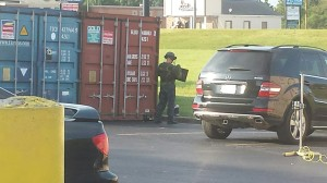 THP bomb expert works to destroy package.. Photo provided