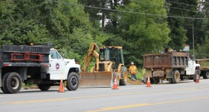 Manchester Water Department working to repair water main break on Wednesday... Photo by Barry West