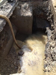 The problem was found to be about 13 feet deep... Photo provided