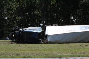 Tractor-trailer crashes on I-24... Photos by Barry West
