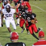 Freshman QB Alontae Taylor breaks loose on one of his long runs.. Photos by Barry West
