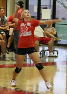 Brittany Williams serves the ball for Coffee County... Photo by Dennis Weaver