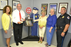 In the picture, Left to Right. Lenore Blackwell, President, Tullahoma Sunrise Rotary, Jerry Wear, Rotary District Governor Lynda Welty, Ass't District Governor, Tullahoma Sunrise Rotary Dot Watson, Tullahoma Sunrise Rotary, Chairman of the Adult Literacy Council and Paul Blackwell, Chief of Police