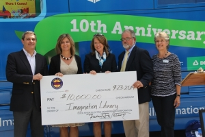 "DREMC officials present a $10,000 check to the Imagination Library in conjunction with the ""Governor's Books from Birth 10th Anniversary Tour."" From left are CoBank's Bill LaDuca, vice president, Electric Distribution Division; Shelia Orrell, DREMC Director of Financial Services; First Lady Crissy Haslam; DREMC Board Chairman, Brent Willis and Theresa Carl, President of the Governor's Books from Birth Foundation"