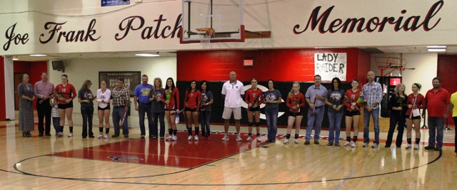 The 2014 CHS Volleyball seniors and their parents are honored befored Thursday's match with White County