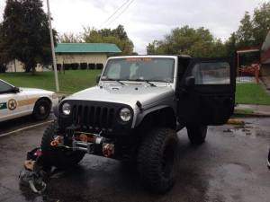 Stolen Jeep recovered by Manchester Police.