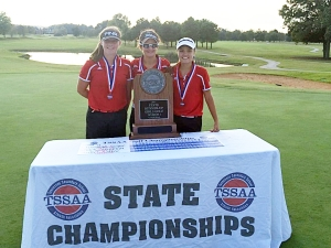The Coffee County Lady Raiders capped off the best season in school history with an 80-4 record and a 2nd place finish in the state. L-R Jacque Crossland, Hollee Sadler and Savannah Quick. Sadler finished 3rd individually.