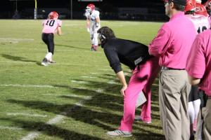 Head Coach Ryan Sulkowski sporting the pink pants on Friday.
