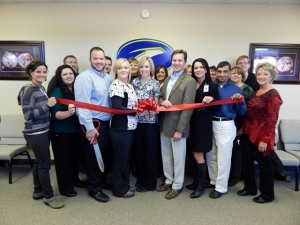 Ribbon cutting at the open house Seven Springs