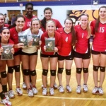 Coffee County Lady Raiders celebrate their District 8AAA Volleyball Championship following Thursday's 5 set win over Lincoln County