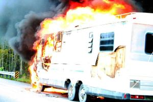 Motorhome burns on I-24 on Saturday afternoon... Photos by Barry West