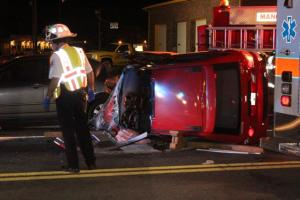 Emergency crews working the accident scene at Thursday night crash in Manchester... Photo by Barry West