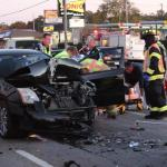 Emergency crews working the accident on Wednesday in Manchester... Photos by Barry West