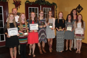 Award winners and coaches at Tuesday night's banquet... Photo by Heather Duncan