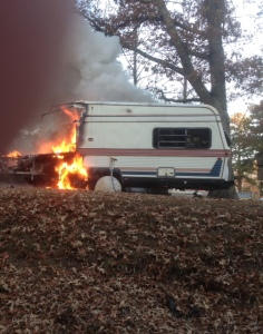 An electrical malfunction may have started the camper fire... Photos provided