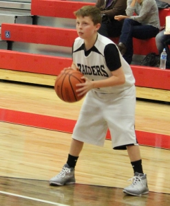 CCMS 6th grader Jaxon Vaughn handles the ball in recent game action.