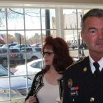 Naomi  Judd with Sgt. Tim Brown... Photo by Barry West