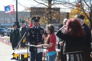 WMSR's Samantha Watters sang two songs at Tuesday's Veterans Day event.