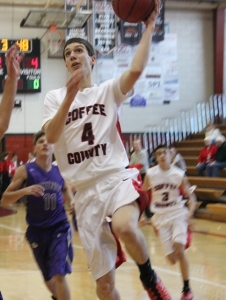 Wyatt Day scores two points for Coffee County during a game earlier this season... Photo by Dennis Weaver