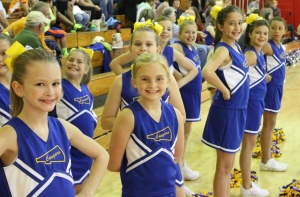 The College Street cheerleaders cheer on their team during Saturday's Coffee County Youth Basketball League games... Photo by Dennis Weaver