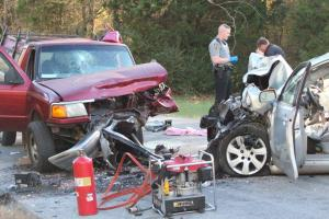 A head-on collision hurt three people on Thursday afternoon in Hillsboro... Photos by Barry West