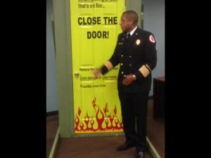 Manchester Fire & Rescue Chief George DeShields presenting a program on closing the door... Photos by Samantha Watters
