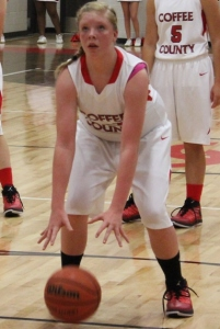 CCMS basketball player Jacey Vaughn prepares to shoot a free throw in a recent game.
