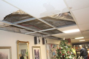 Part of the ceiling that suffered water damage.