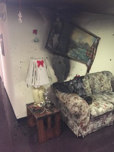 Damage inside the apartment where the fire began... Photo provided