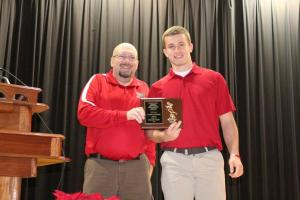 (L) Thunder Radio's Lucky Knott presents the Raider Award to Mill Harner (R)... Photos by Barry West
