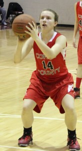 CCMS 8th grader Abby Morgan prepares to shoot a free throw from earlier in the season