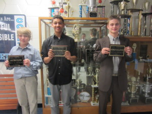 Left to right 7th grader Jacob Floyd and 8th graders Marcus Pendelton and Byron Sullivan.