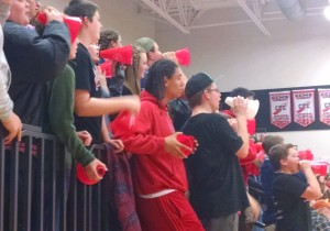 The Coffee COunty Middle School student section cheers on the Lady Raiders in Thursday night's CTC tournament semi-finals.