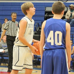 Westwood's Chase Simpkins prepares to shoot a free throw in DRVC Tournament action Saturday