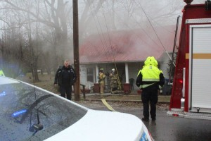 Emergency crews on the scene at Monday's fire... Photos by Barry West