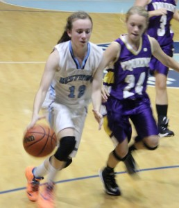 Westwood's Morgan Jones drives to the basket from earlier in the season