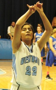 Westwood's Karen Medina shoots a free throw on Thursday night against HUntland