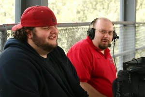 Derek Harryman (left) and Lucky Knott (right) broadcasting a game on Thunder Radio.