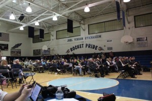 Large crowd on hand at Monday's meeting.