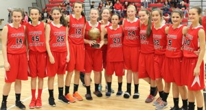 The Lady Raiders of Coffee County Middle School with their CTC championship tournament