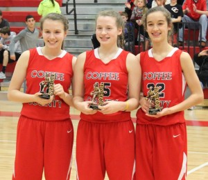 Abby Morgan, Alisha Jennings and Julia Duncan(left to right) were named to the CTC All Conference team on Saturday night.