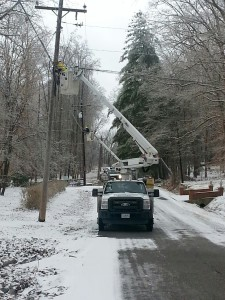 Local utilities continued working hard to restore services on Wednesday... Photo by Tiffany Clutter