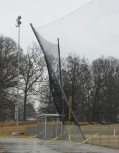 Weather damage to backstop at the Coffee County Middle School baseball field.