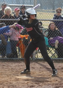Coffee County Middle School's Erin Ferrell batting during scrimmage action from February 28th