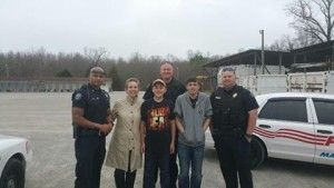 Captain Nilesh Patel, Officer Daniel Ray and Officer Trey Adcock spending some time with the Fonseca family on 3/26/2015.