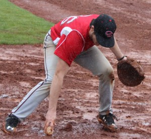 Gavin Husted fields a grounder at first base in action on Saturday