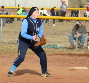 Westwood Middle School's Haley Miller readies herself on defense  at 1st base during scrimmage action from February 28th